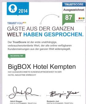 Kempten: bigBOX HOTEL erhält Urkunde von TrustYou