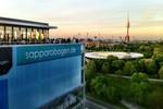 Weitblick - Panorama Lounge In- und Outdoorkombination mit fantastischen Blick auf das Olympiagelände in München