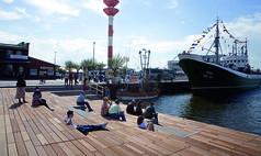 Bremerhaven Fischbahnhof Terrasse Schaufenster Fischereihafen